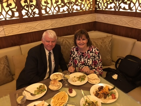 2015-12-27 Reed & Sandi eating at Le Royal Hotel